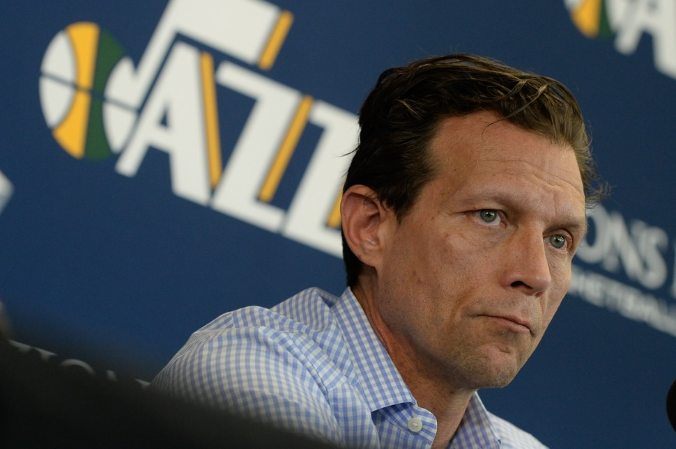 (Francisco Kjolseth | The Salt Lake Tribune) Utah Jazz head coach Quin Snyder speaks with the media during exit interviews at their practice facility in Salt Lake City Wed., May 8, 2018, after losing to the Houston Rockets in game 5 of their Western Conference Semifinals during the 2018 NBA Playoffs.