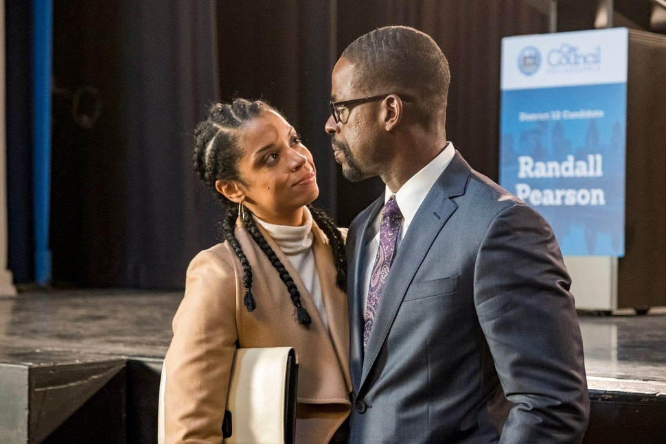 "(Photo by: Ron Batzdorff/NBC) Susan Kelechi Watson as Beth and Sterling K. Brown as Randall in ""This Is Us."""