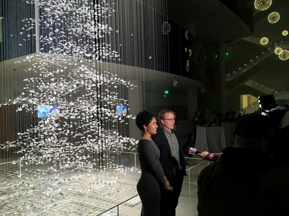 (Sean P. Means   The Salt Lake Tribune) Architects and artists Sophia Malik and Nelson Hansen talk to reporters about their art installation, a