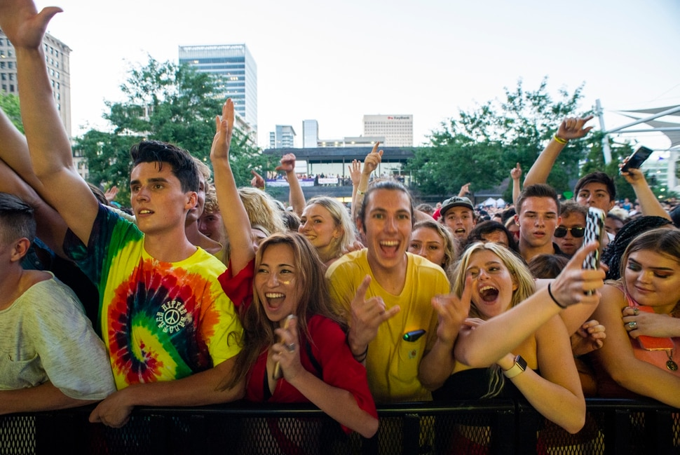 (Rick Egan | The Salt Lake Tribune) The crowd cheers for Hippie Sabotage as the perform at the twilight concert series, at the Gallivan Center, Saturday, July 20, 2019.
