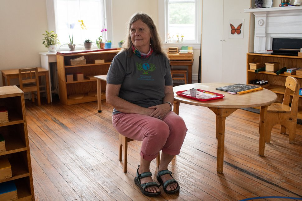 (Zachary Wajsgras | The New York Times) Lindsey Munson, an administrator at the Montessori School of Charlottesville in Charlottesville, Va., May 23, 2020. The federal government's Paycheck Protection Program helped the school stay solvent through the end of the year, but Munson is wary of what comes next.