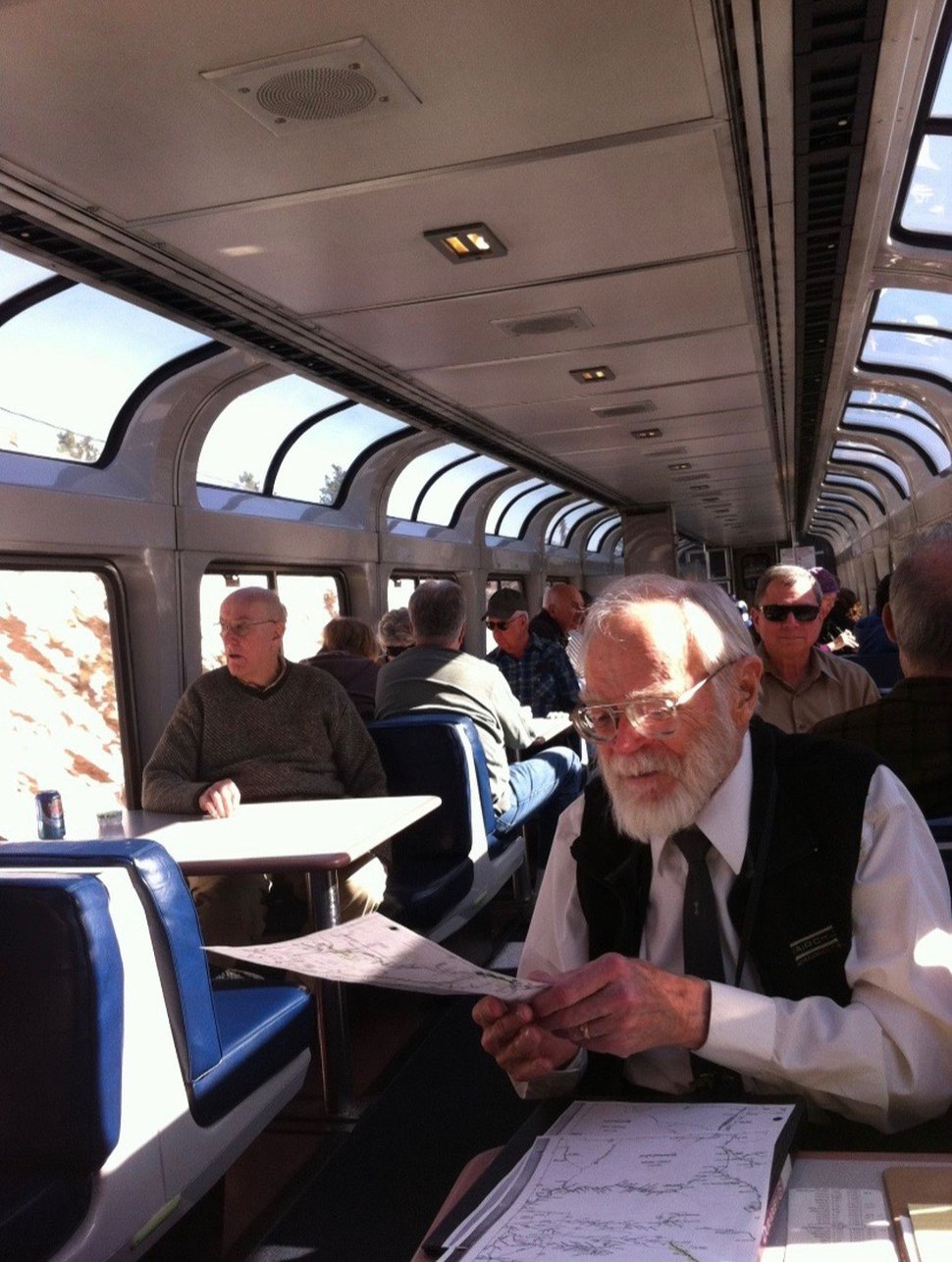 (Photo courtesy of Jackie Morgan) John Degges sits aboard a train in this undated photo. Degges died July 29, 2020, in Salt Lake City after contracting COVID-19, his family says.