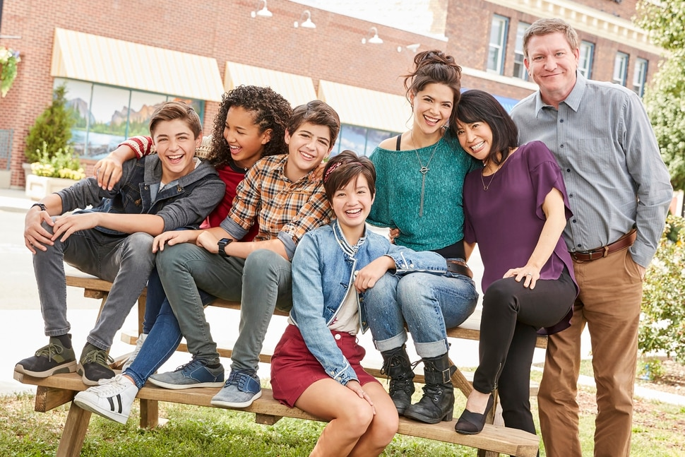 "(Photo courtesy Craig Sjodin/Disney Channel) ""Andi Mack"" stars Asher Angel as Jonah Beck, Sofia Wylie as Buffy Driscoll, Joshua Rush as Cyrus Goodman, Peyton Elizabeth Lee as Andi Mack, Lilan Bowden as Bex Mack, Lauren Tom as Celia Mack, and Stoney Westmoreland as Ham Mack."