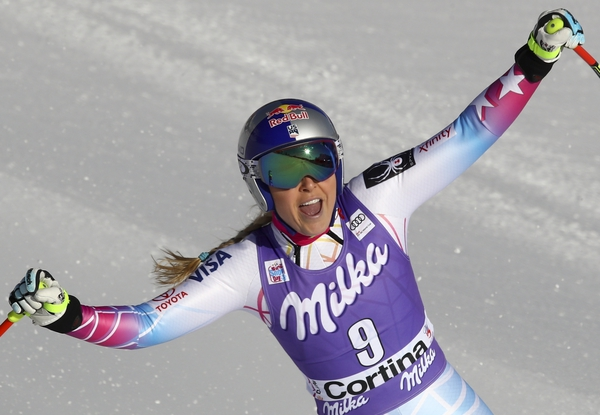 United States' Lindsey Vonn gets to the finish area after completing an alpine ski, women's World Cup downhill, in Cortina D'Ampezzo, Italy, Saturday, Jan. 20, 2018. (AP Photo/Alessandro Trovati)