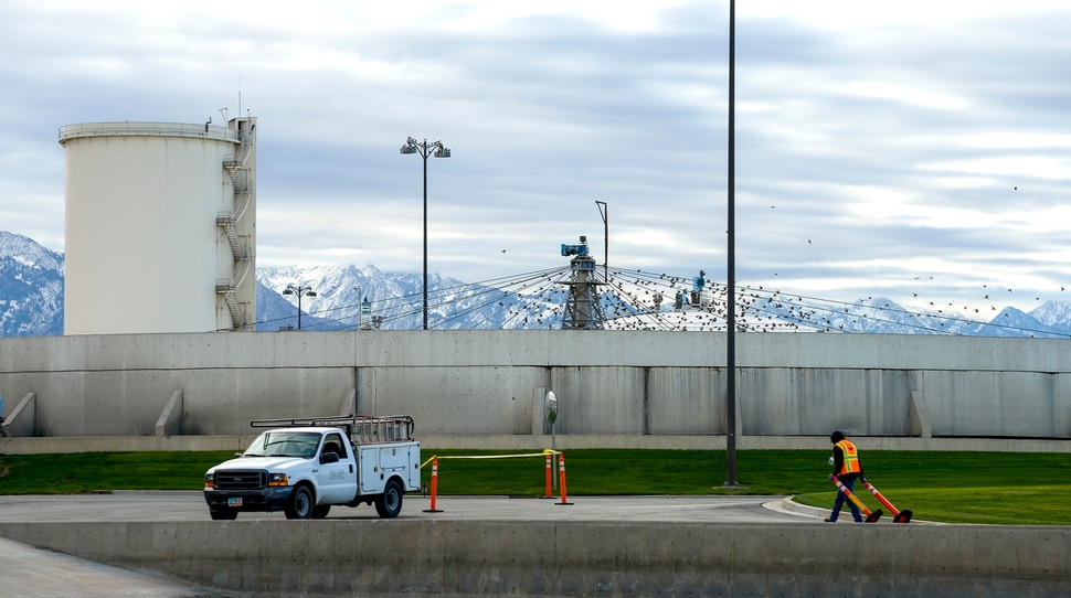 (Leah Hogsten | The Salt Lake Tribune) Salt Lake City broke ground Tuesday on new construction of a Water Reclamation FacilityÑthe largest non-airport public works facility in Salt Lake City history, Oct. 22, 2019. The $528-million wastewater treatment project will take six years to complete.