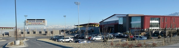 (Al Hartmann | The Salt Lake Tribune) RSL Academy charter school at right is next to the Zions Bank Stadium, home of the Real Monarchs. The charter school is up and running as the stadium is being finished. There are also five side by side outdoor soccer practice fields and an indoor arena housing two more fields.