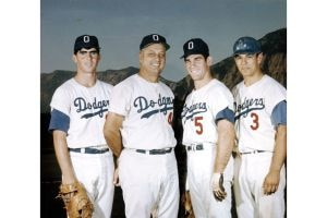 (Photo courtesy of Zack Manasian) Tommy Lasorda, second from left, manager of the 1968 Ogden Dodgers, with first baseman Bill Buckner, third baseman Steve Garvey and outfielder Bobby Valentine.