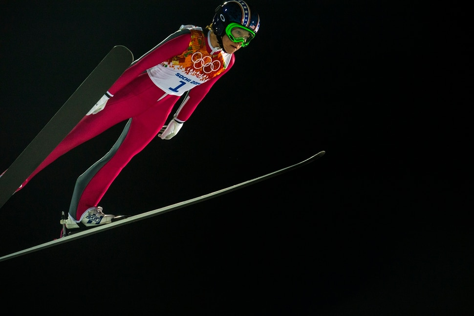 KRASNAYA POLYANA, RUSSIA - JANUARY 11: Park City's Sarah Hendrickson competes in the women's ski jumping competition at the Gorki Ski Jumping Center during the 2014 Sochi Olympic Games Tuesday February 11, 2014. Hendrickson finished in 21st place with a 217.6. (Photo by Chris Detrick/The Salt Lake Tribune)