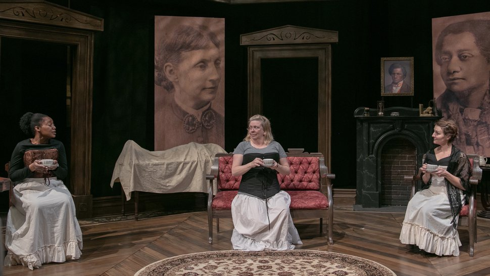 """(Photo courtesy of McKenna Frandsen/Salt Lake Acting Company) Yolanda Stange as Rosetta, Colleen Baum as Susan and Susanna Florence as Helen in """"Four Women Talking About the Man Under The Sheet."""""""