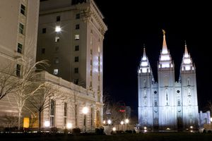 (Jeremy Harmon | Tribune file photo) The Joseph Smith Memorial Building and Salt Lake Temple are seen in a long-exposure photograph from 2008. Top Latter-day Saint leaders have been meeting at time in the Joseph Smith Memorial Building while the iconic temple undergoes extensive renovation.