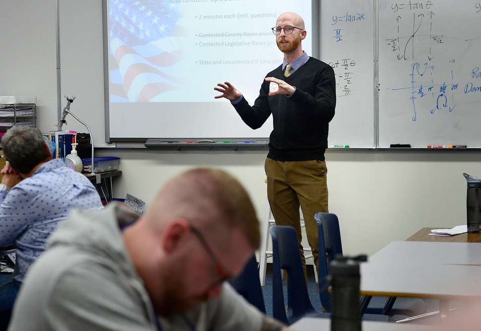 (Scott Sommerdorf   The Salt Lake Tribune) Derek Kitchen speaks at the veterans' caucus at the Salt Lake County Democratic Convention where delegates pick their favorites for county/legislative races, Saturday, April 14, 2018.