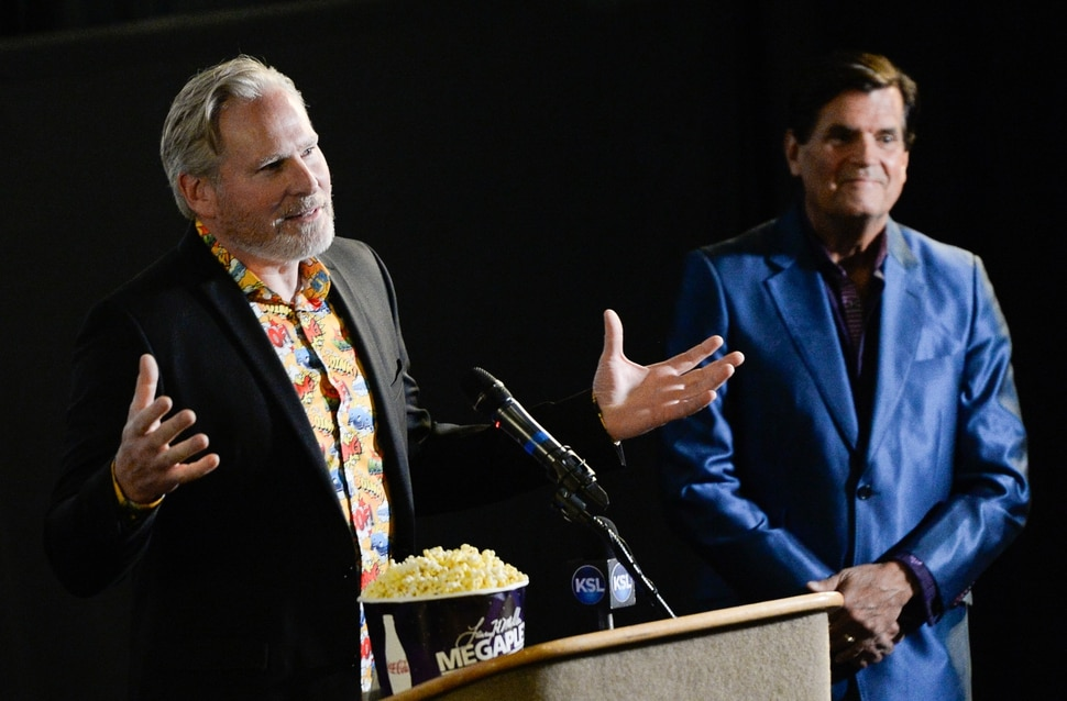 (Francisco Kjolseth | The Salt Lake Tribune) Producers Dan Farr, left, and Bryan Brandenburg take the spotlight for FanX's twice-annual press conference, which draws cosplayers to Megaplex Jordan Commons in Sandy on Wed. June 12, 2019, for the announcement of the event's celebrity visitors.