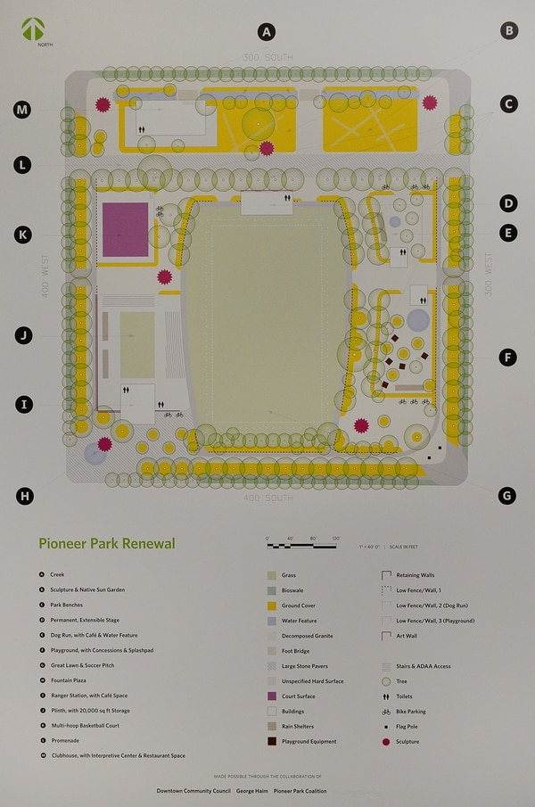 (Francisco Kjolseth | The Salt Lake Tribune) Pioneer Park Coalition, and the Downtown Community Council share a redesign concept about Pioneer Park during an open house on Thursday, Aug. 30, 2018 at the Homewood Suites by Hilton next to Pioneer Park. Downtown leaders are facilitating input for community engagement as ideas recently drafted were presented for the park which includes a ranger station with cafe space, sculptures, promenade, fountain plaza and restaurant space.