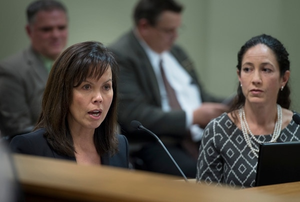 (Scott Sommerdorf | The Salt Lake Tribune) Juvenile Justice Services director Susan Burke, left, answers questions during the Legislative Audit Committee's hearing on a