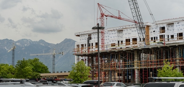 (Francisco Kjolseth | The Salt Lake Tribune) Construction at the former Granite Furniture in Sugar House continues at a quick pace as the new Sugarmont Apartments takes shape on Tuesday, May 22, 2018. New Census data shows that Salt Lake City has surpassed 200,000 residents, and again is the state's fastest-growing city by numbers. It added 5,891 residents between July 1, 2016 and July 1, 2017.