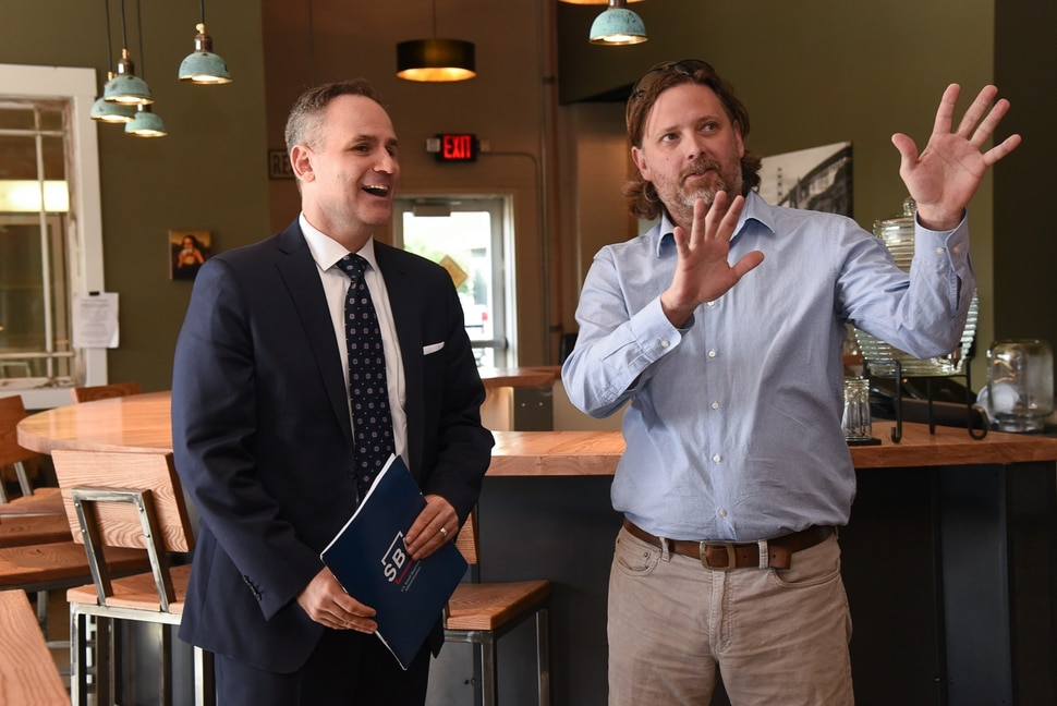 (Francisco Kjolseth | The Salt Lake Tribune) Christopher Pilkerton, left, acting head of the U.S. Small Business Administration and advocate for the nationÕs 30 million small businesses gets a tour of Level Crossing Brewing Company in South Salt Lake from owner Mark Medura on Thursday, May 9, 2019. Pilkerton is visiting several small businesses in Utah to celebrate National Small Business Week.