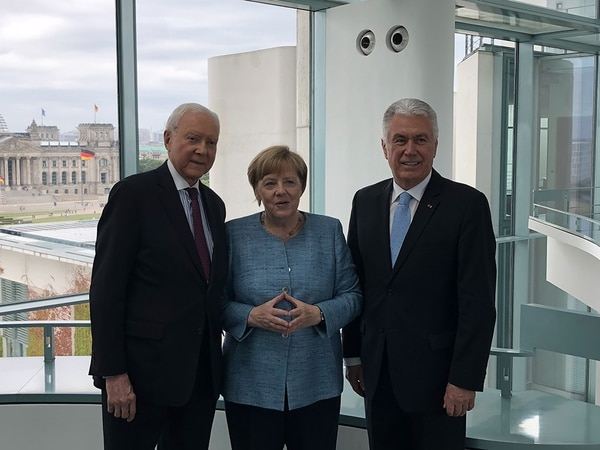(Photo courtesy of the LDS Church) U.S. Sen. Orrin Hatch of Utah and Elder Dieter F. Uchtdorf of the Quorum of the Twelve Apostles of The Church of Jesus Christ of Latter-day Saints meet with German Chancellor Angela Merkel on Friday, July 6, 2018, in Germany.