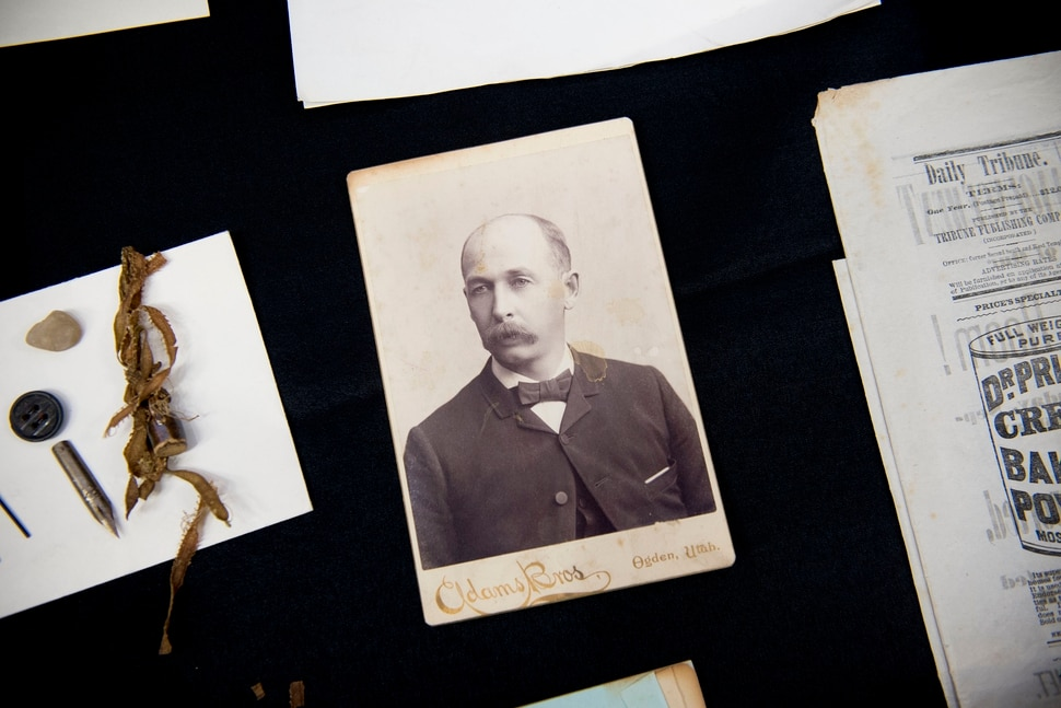 (Jeremy Harmon | The Salt Lake Tribune) This portrait of Professor H.W. Ring., who lead the Ogden Academy when it opened in 1887, and other items were found in a time capsule that was buried in the corner stone of the school when it was being built. Items from the time capsule were displayed at the Utah State Archives on Wednesday, Oct. 16, 2019.