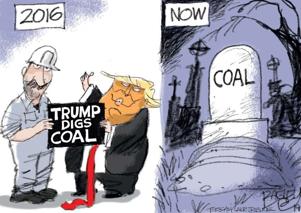 (Pat Bagley | The Salt Lake Tribune) This cartoon, titled Trump Digs Coal, appears in The Salt Lake Tribune on Wednesday, Oct. 30, 2019.