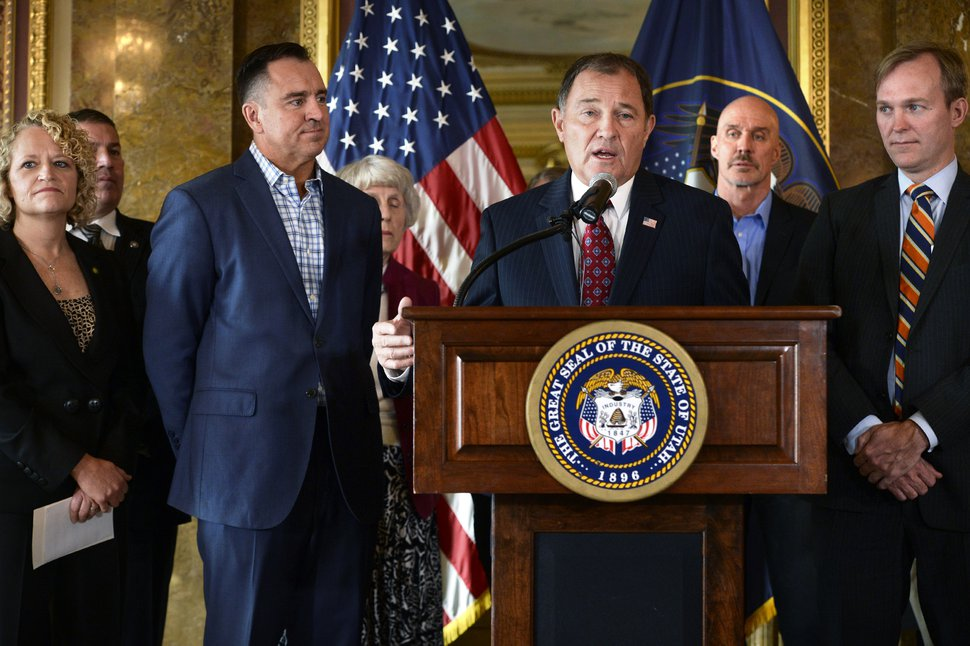 (Scott Sommerdorf | The Salt Lake Tribune) Utah Gov. Gary Herbert announces a plan that expands Medicare coverage in Utah, Wednesday, Nov. 1, 2017. Front row, from left to right; Salt Lake City Mayor Jackie Biskupski House Speaker Greg Hughes, R-Draper Utah Gov. Gary Herbert Tim Whalen / Salt Lake County Salt Lake County Mayor Ben McAdams