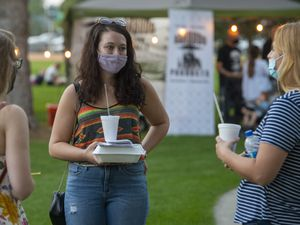 (Rick Egan     The Salt Lake Tribune)    Most of the visitors wore masks as they shopped the Farmers Market at Orem City Park, on Wednesday, Sept. 16, 2020.