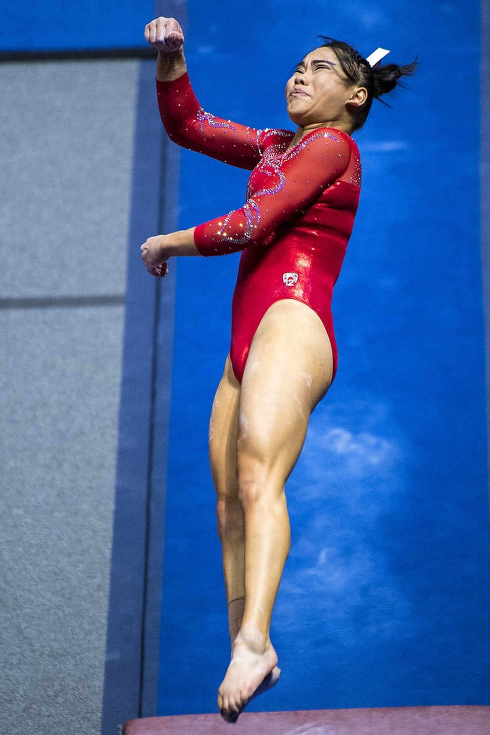 (Chris Detrick | The Salt Lake Tribune) Utah's Kim Tessen competes on the vault during the gymnastics meet against Brigham Young University Friday, January 5, 2018.