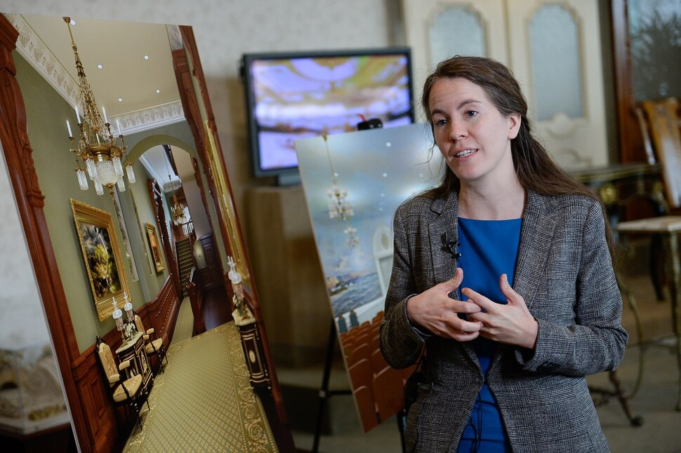 (Francisco Kjolseth | The Salt Lake Tribune) Emily Utt, curator of church history with the Church of Jesus Christ of Latter-day Saints looks forward to the stories that will be revealed by those who worked on the construction of the temple as planned renovations near, set to close the temple Dec. 29, 2019, through 2024. Parts of the Temple Square Plaza are also set to be renovated.