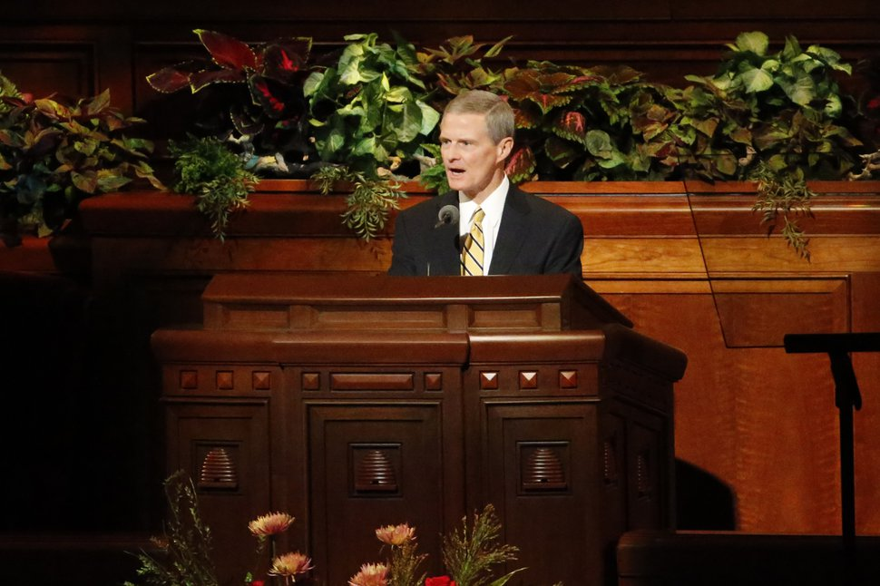 (Rick Bowmer | AP photo) David A. Bednar, a member of the Quorum of the Twelve Apostles, speaks during The Church of Jesus Christ of Latter-day Saints' twice-annual church conference Saturday, Oct. 5, 2019, in Salt Lake City.