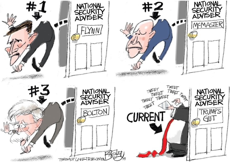 (Pat Bagley | The Salt Lake Tribune) This cartoon, titled Office of National Insecurity, appears in The Salt Lake Tribune on Thursday, Sept. 12, 2019.