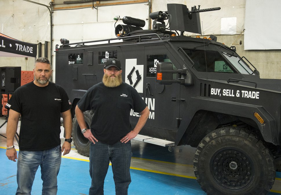 (Rick Egan   Tribune file photo) Bryan Melchior and Sam Robinson, owners of Utah Gun Exchange, Friday, March 23, 2018.