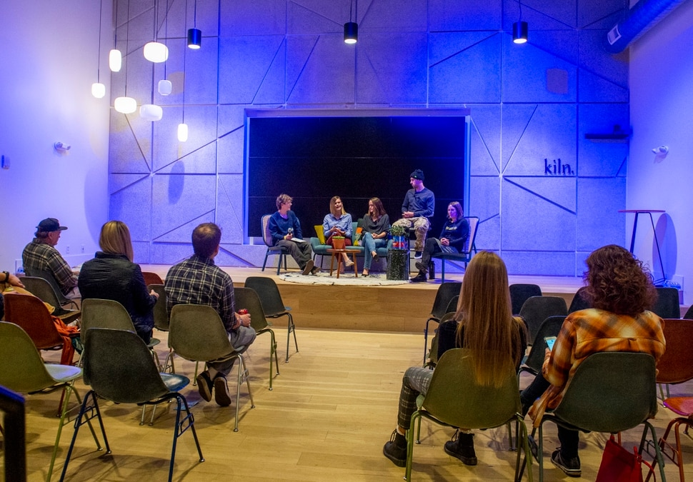 "(Rick Egan | The Salt Lake Tribune) Protectour Winters hosts a panel discussion on climate change at the ""Rendezvous"" Mountain Culture Festival at the Gateway, Saturday, Sept. 28, 2019."