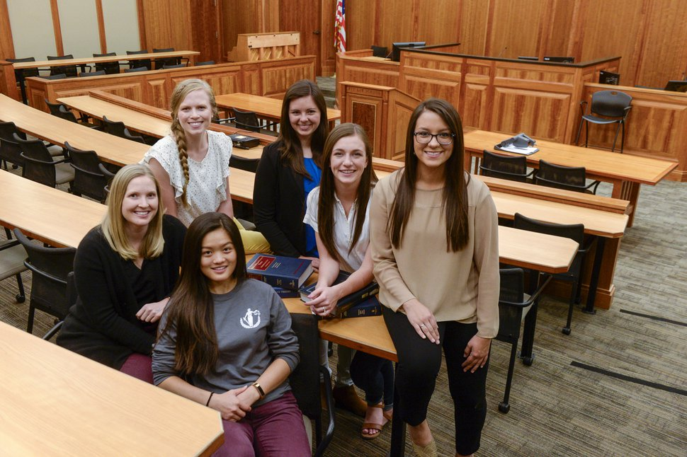 Leah Hogsten | The Salt Lake Tribune l-r Kate Zurcher, Ellen Welch, Kristie Lam, Summer Crockett, McKinney Voss and Daniela Rosbach are all first-year law students at Brigham Young University. For the first time in the school's history, BYU's J. Reuben Clark Law School's incoming class has more women than men.