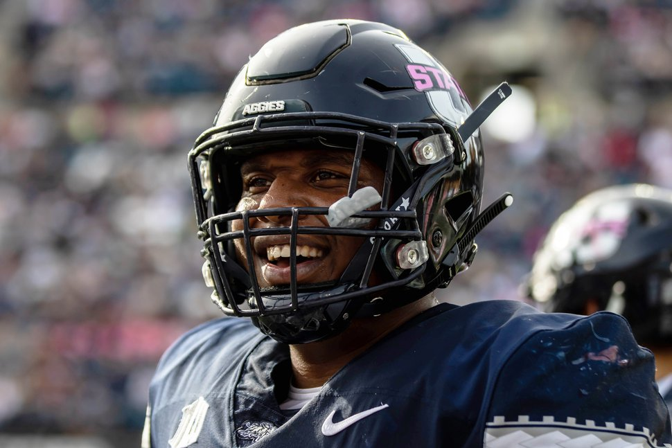 (Photo courtesy of Utah State University) Pictured is Sean Taylor, who played right tackle for USU, and graduated with a bachelor's in sociology on Thursday, May 2, 2019.
