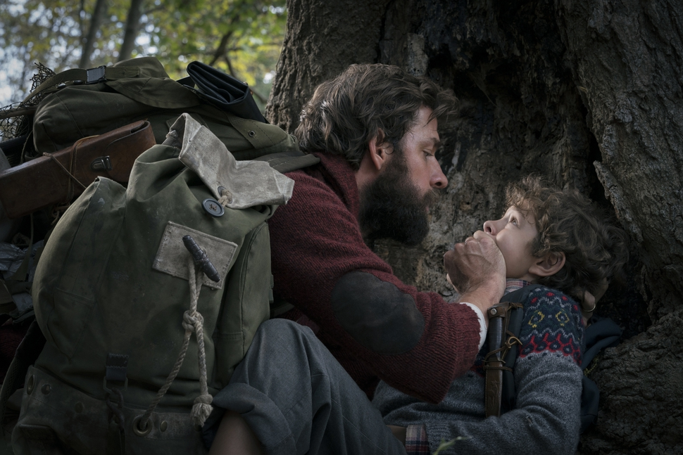 This image released by Paramount Pictures shows John Krasinski, left, and Noah Jupe in a scene from A Quiet Place. The 25th South by Southwest Film Festival will kick off with the supernatural thriller starring Krasinski and his wife Emily Blunt. (Jonny Cournoyer/Paramount Pictures via AP)