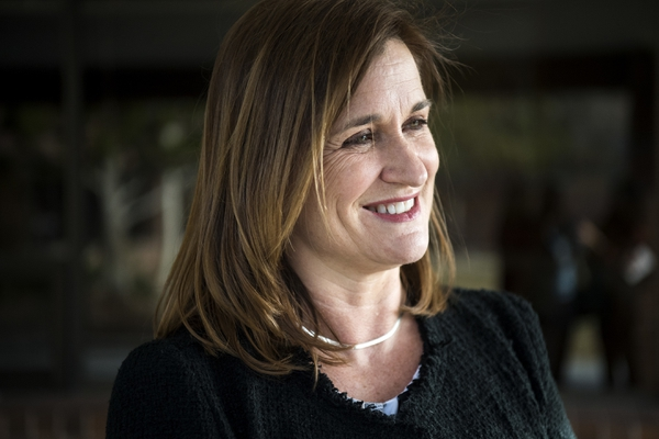 Salt Lake County Council member Jenny Wilson, Democratic candidate for Utah's open Senate seat, is shown at the House District 24 Democratic Caucus at Ensign Elementary in Salt Lake City on March 21, 2018. (Chris Detrick/The Salt Lake Tribune via AP)