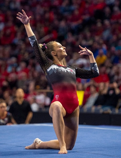 (Rick Egan | The Salt Lake Tribune) MyKayla Skinner scores a10 on the floor exercise for Utah, in the PAC-12 Gymnastics Championships at the Maverik Center, Saturday, March 23, 2019.