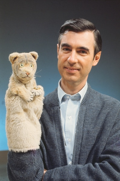 (Courtesy Focus Features) Fred Rogers with Daniel Tiger from his show Mr. Rogers' Neighborhood from the film, Won't You Be My Neighbor, a Focus Features release premiering at the 2018 Sundance Film Festival.