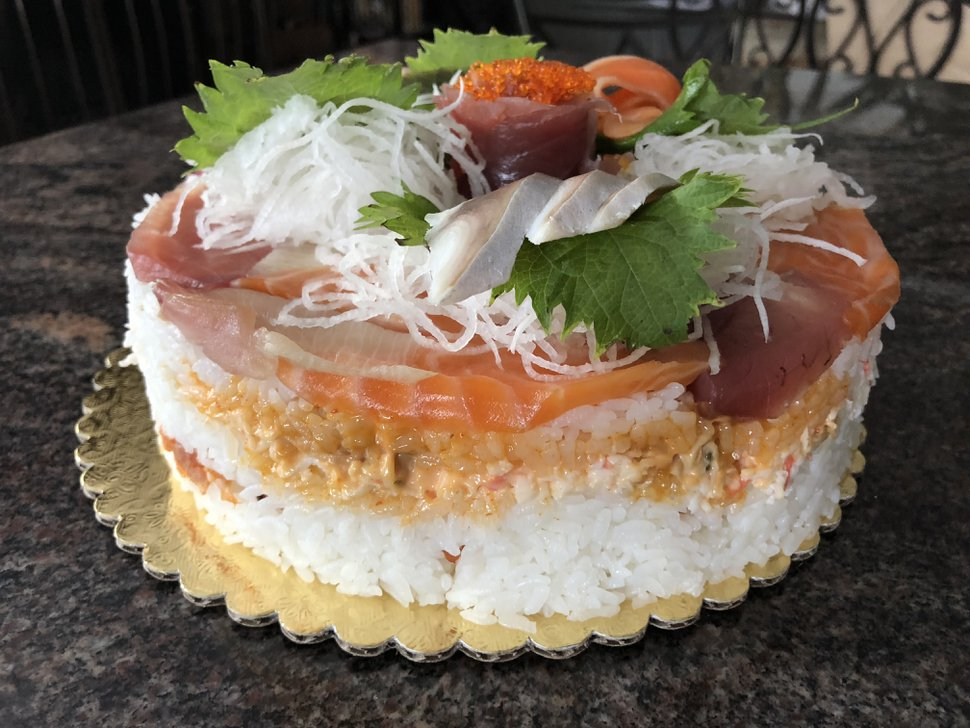 (Courtesy photo | Heather L. King) The layered sushi cake at Hamachi Pescatarian Grill and Sushi Bar in Salt Lake City