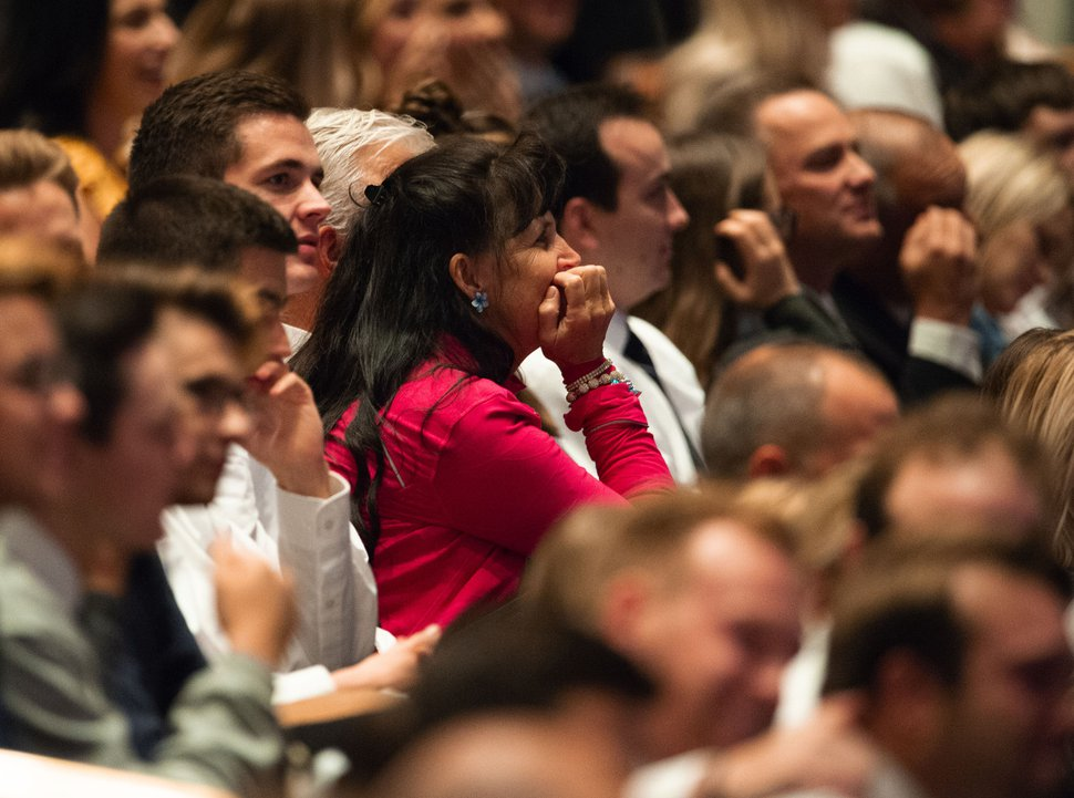 (Keith Johnson | Special to The Tribune) Members of the congregation react to President Russell M. Nelson's announcement of 12 new temples, during the concluding session of the 188th Semiannual General Conference of The Church of Jesus Christ of Latter-day Saints on Oct. 7, 2018, in Salt Lake City.