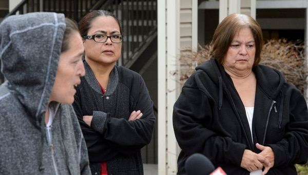 (Steve Griffin | The Salt Lake Tribune) Rosie Tapia's aunt, Ramona Lopez, center, and mother Lewine Tapia, right, listen as Rosie's sister Emilia Elizondo, talks about events, 22 years ago when Rosie was taken as a coalition of family, attorneys, businesses and residents unit to ask the community to solve the murder of the 6-year-old girl. The group held a news conference at the apartment complex where Tapia was taken in Salt Lake City Monday November 20, 2017. Tapia was 6 years old when she disappeared from her home at the Hartland Apartments at 1616 Snow Queen Place in Salt Lake City in the early hours of Aug. 13, 1995. Rosie was taken from a bedroom of the family apartment, raped and murdered. Her body was found a few hours later in a nearby canal. Rosie's killer has never been arrested.