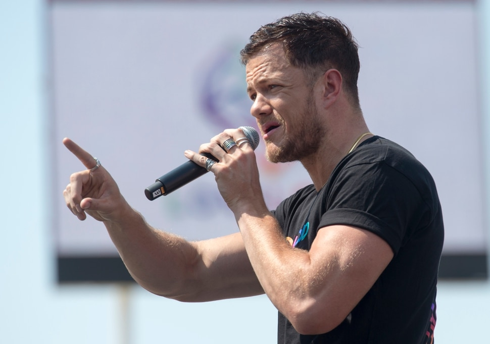 (Rick Egan | The Salt Lake Tribune) Loveloud Founder Dan Reynolds says a few words to the crowd at the start of the Loveloud Festival in the early afternoon, at Rice-Eccles Stadium, Saturday, July 28, 2018.