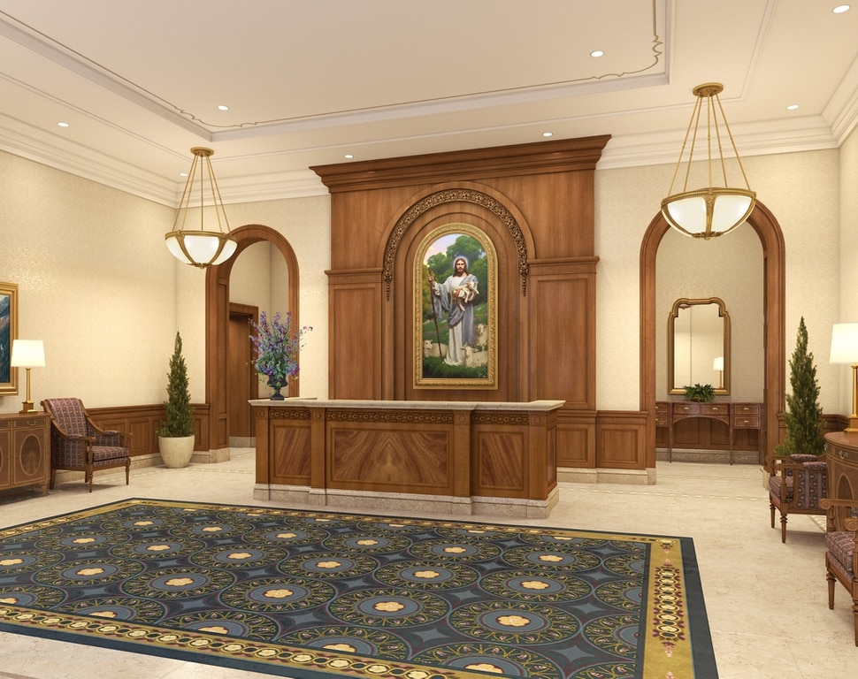 (Image courtesy of The Church of Jesus Christ of Latter-day Saints) An artist's rendering of the lobby of The Church of Jesus Christ of Latter-day Saints' to-be-constructed Tooele Valley Utah Temple.