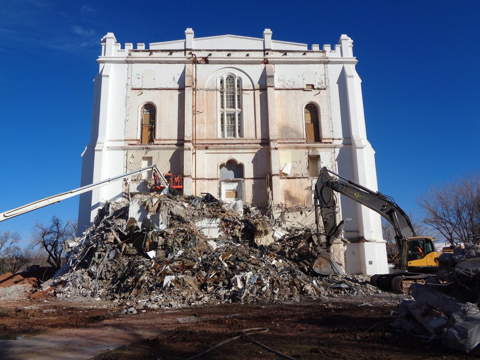(Photo courtesy of The Church of Jesus Christ of Latter-day Saints) The exterior window of the St. George Temple is uncovered Jan. 20, 2020, after more than 40 years during removal of the 1970s-era west addition that housed a an elevator and utilities. A newly constructed addition will closely match the original architecture and will include updated elevator and utility systems.