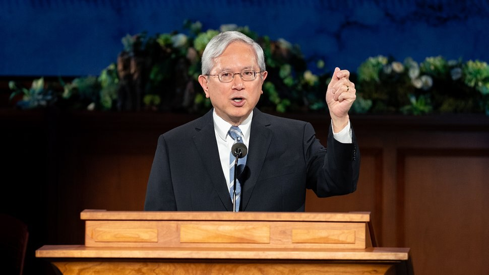 (Photo courtesy of The Church of Jesus Christ of Latter-day Saints) Apostle Gerrit W. Gong speaks at General Conference on April 4, 2020.