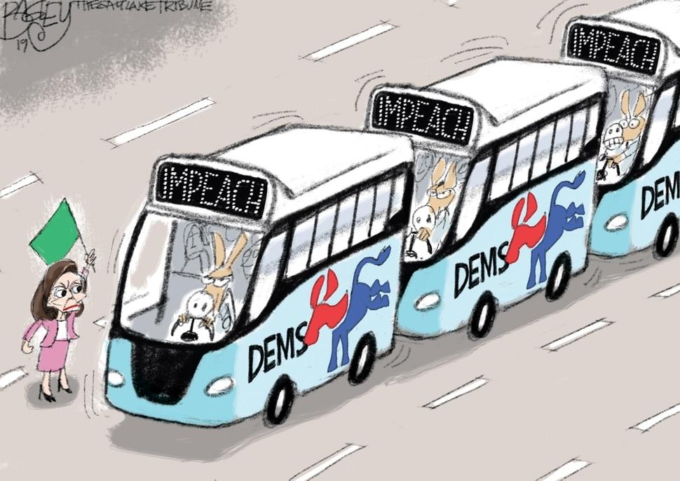 (Pat Bagley | The Salt Lake Tribune) This cartoon, titled Starting Flag, appears in The Salt Lake Tribune on Wednesday, Sept. 25, 2019.