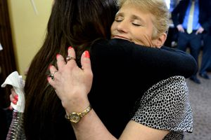 (Steve Griffin  |  The Salt Lake Tribune) INN Between resident Linda Liminieux, right, gets a hug from Janet Jackson, public relations volunteer for the Inn Between, following a news conference announcing a new home for INN Between, a hospice for the homeless in Salt Lake City. The INN Between will be moving into an existing assisted living facility at 1216 E. 1300 South, where a news conference was held on Thursday, May 3, 2018.