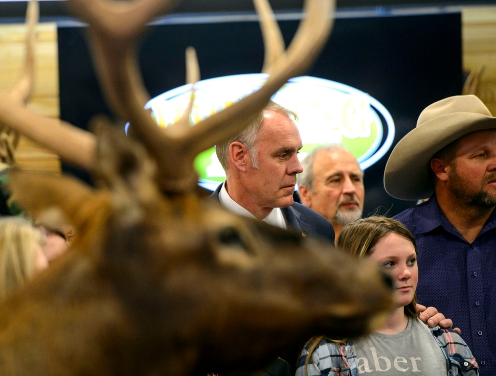 (Steve Griffin | The Salt Lake Tribune) U.S. Secretary of the Interior Ryan Zinke stands at the Western Hunting and Conservation Expo at the Salt Palace Convention Center in Salt Salt Lake City on Friday, Feb. 9, 2018, as he prepares to sign Secretarial Order 3362, aimed at improving habitat quality and Western winter range and migration corridors for big game.