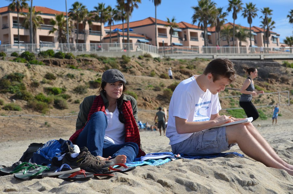 (Photo courtesy Heather Edwards) Heather Edwards and her son Keegan Theurer relax on the beach in San Diego. Theurer, who was 22, died of coronavirus complications on Oct. 24, 2020.