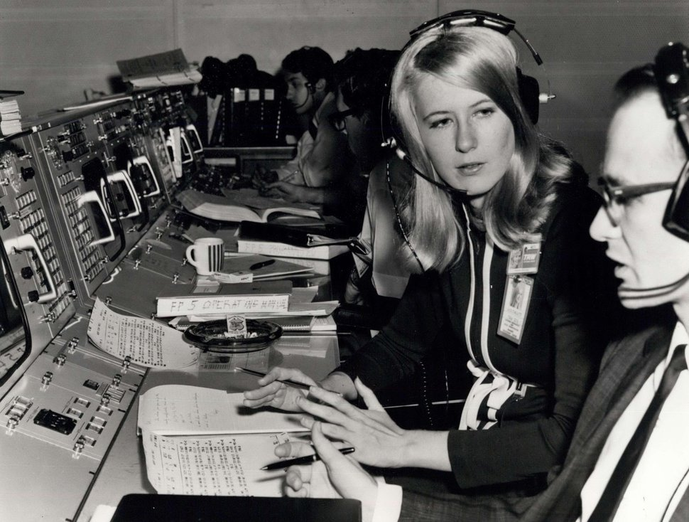 (Photo courtesy of ZUMA Press, Inc./Alamy Stock Photo) Poppy Northcutt became the first woman in an operational support role to work in NASA's Mission Control Center in Houston with the flight of Apollo 8. Photo taken in 1968.