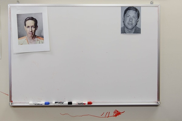 Trent Nelson | The Salt Lake Tribune A white board in investigator Sam Brower's office shows FLDS leaders Warren and Lyle Jeffs, in Cedar City, Thursday January 15, 2015.
